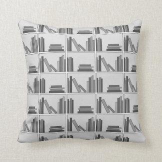Books on Shelf. Monochrome. Throw Pillow