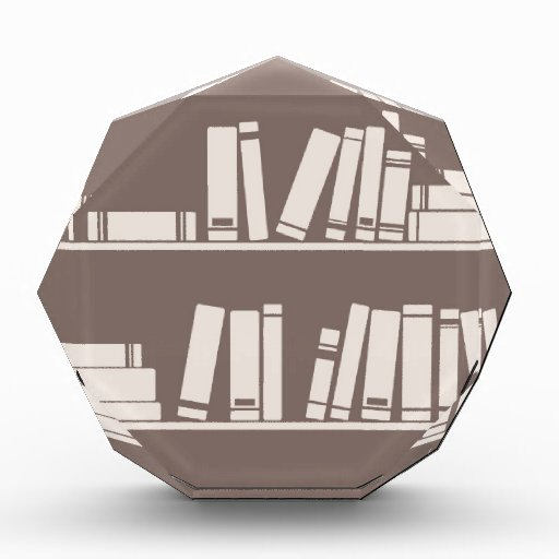 Books on the shelf for reading lover or wise guy acrylic award