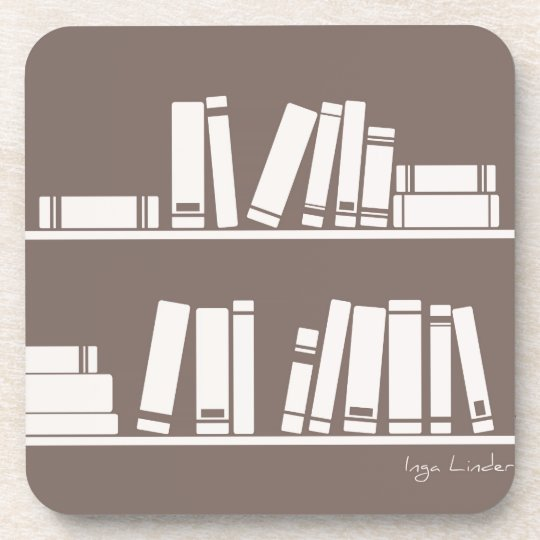Books on the shelf for reading lover or wise guy beverage coaster