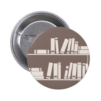 Books on the shelf for reading lover or wise guy buttons
