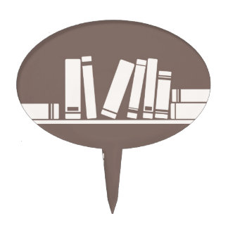 Books on the shelf for reading lover or wise guy cake topper