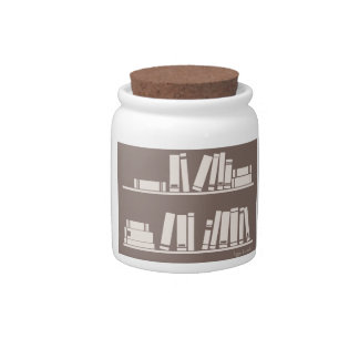 Books on the shelf for reading lover or wise guy candy dishes