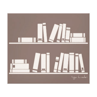 Books on the shelf for reading lover or wise guy canvas print