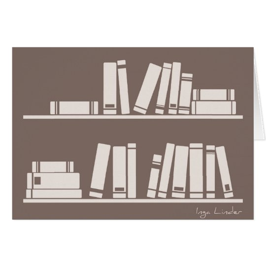 Books on the shelf for reading lover or wise guy card