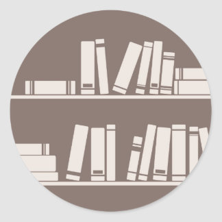 Books on the shelf for reading lover or wise guy classic round sticker