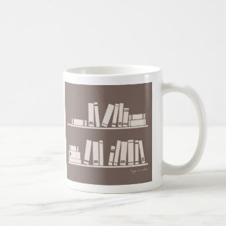 Books on the shelf for reading lover or wise guy coffee mug