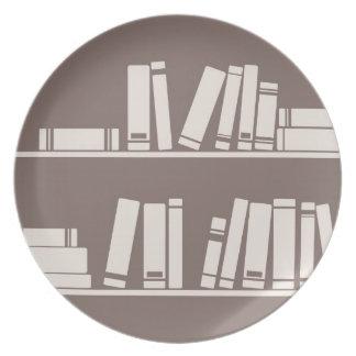 Books on the shelf for reading lover or wise guy melamine plate
