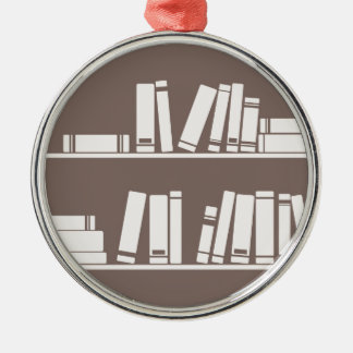 Books on the shelf for reading lover or wise guy metal ornament
