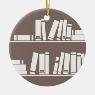 Books on the shelf for reading lover or wise guy ornament