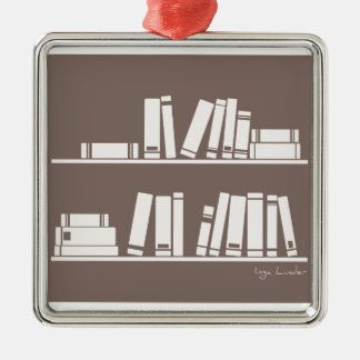 Books on the shelf for reading lover or wise guy christmas ornaments