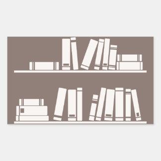 Books on the shelf for reading lover or wise guy rectangular sticker