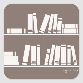 Books on the shelf for reading lover or wise guy square sticker