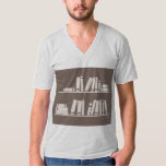 Books on the shelf for reading lover or wise guy t-shirt