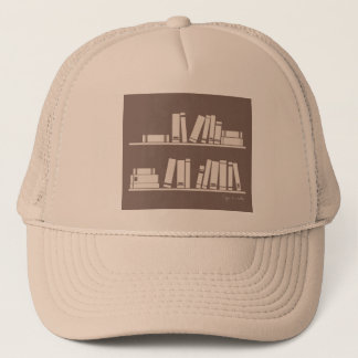 Books on the shelf for reading lover or wise guy trucker hat