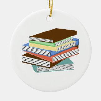 Books_Ornament1 Adorno Navideño Redondo De Cerámica