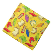 Books Pattern on Yellow Bandana