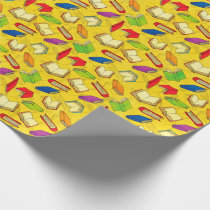Books Pattern on Yellow Wrapping Paper