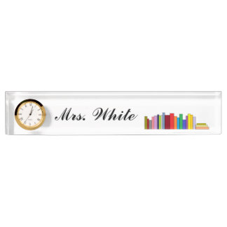 """Books"" Personalized Nameplate w/Clock"