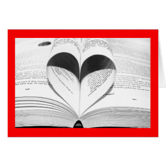 Books Red Heart Love Valentine's Day Black & White Card