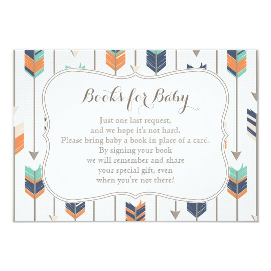 books request tribal arrows navy orange teal card | zazzle, Baby shower invitations