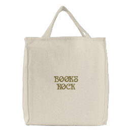 BOOKS ROCK EMBROIDERED TOTE BAG