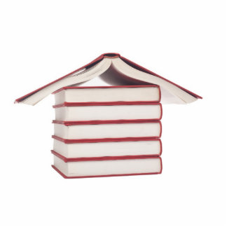 Books shaped like a house cutout