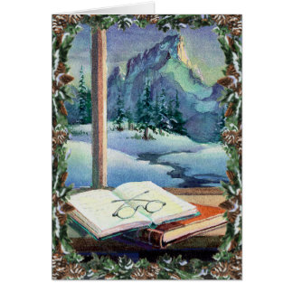 BOOKS, SPECS & WREATH by SHARON SHARPE Greeting Card