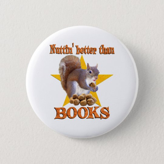 Books Squirrel Pinback Button