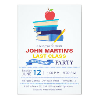 Books Stacked Teacher Retirement Invitation