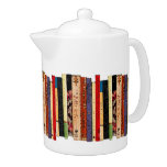 Books Teapot<br><div class='desc'>This brilliantly colored white porcelain teapot features a shelf of colorful books. They form an interesting abstract vertical geometrical pattern in colors of green,  brown,  yellow,  red,  blue,  black and pink.</div>