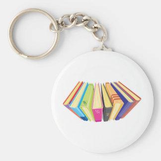 books upper view basic round button keychain