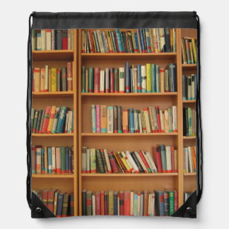 Bookshelf background cinch bags