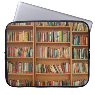 Bookshelf background computer sleeves