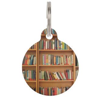 Bookshelf background pet name tag