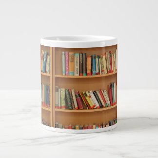 Bookshelf background giant coffee mug