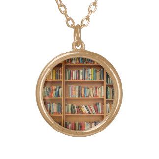Bookshelf background gold plated necklace