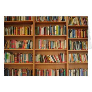 Bookshelf background greeting card