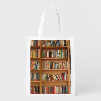 Bookshelf background grocery bags