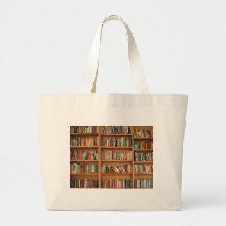 Bookshelf background large tote bag