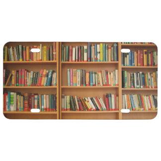 Bookshelf background license plate