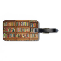 Bookshelf background luggage tag