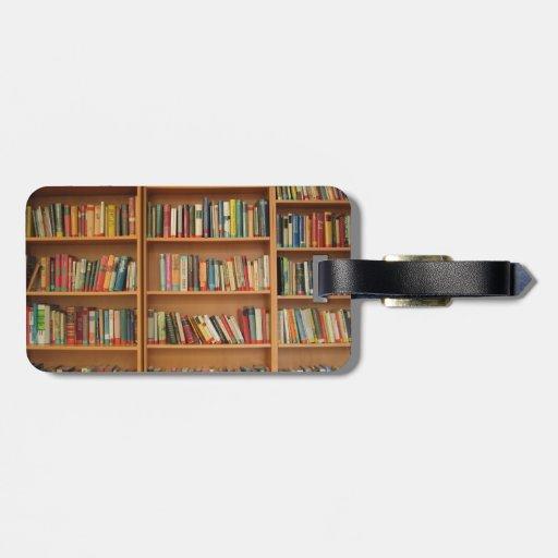 Bookshelf background luggage tag