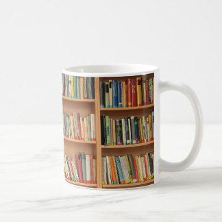 Bookshelf background classic white coffee mug