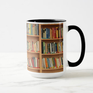Bookshelf background mug