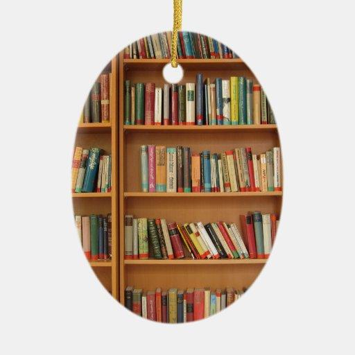Bookshelf background Double-Sided oval ceramic christmas ornament