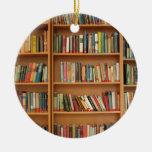 Bookshelf background Double-Sided ceramic round christmas ornament