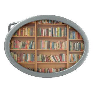 Bookshelf background oval belt buckles