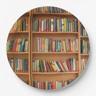 Bookshelf background paper plate