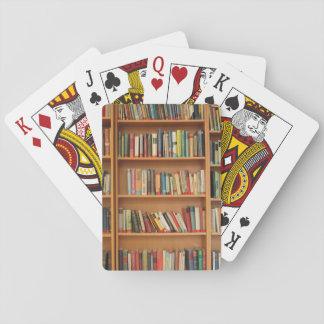 Bookshelf background playing cards