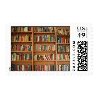 Bookshelf background postage stamps